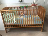 "Gorgeous Mamas & Papas Pine Cot / Bed Includes ""Winnie Pooh Bear"" Bedding, & Extras...."