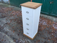 Narrow 5 Drawer Chest Of Drawers Bedroom Clothes Storage