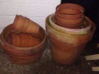 Collection of terracotta plant pots various sizes