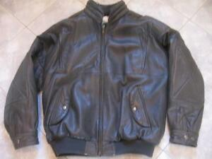MAN'S DELUXE BOMBER-STYLE 100% SOFT LEATHER  JACKET..ROOMY FIT.SIZE 44