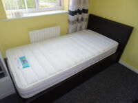 Single black bed with storage ottoman including Silentnight MATTRESS