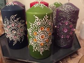 Hand decorated candle