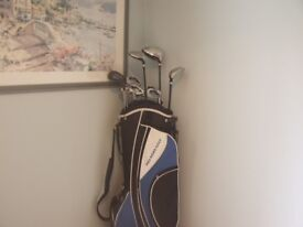 GOLF CLUBS FOR SALE. PRO RIDER GOLF. 8 IRONS & 3 WOODS, HARDLY USED.