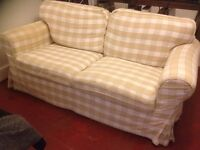 Cream and Tan chequered sofa, 2 seater, 2 years old, excellent condition