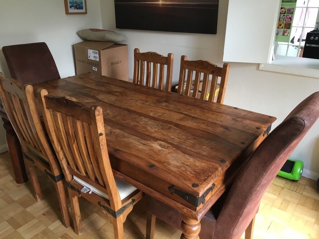 Dining Table And 6 Chairs, Indian Style Solid Wood