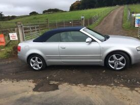 2004 Audi A4 Convertible 1.8 T 12 Months Mot Grey Leather with Electric Roof, Heated Seats, Warranty