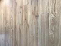 Oak plank effect click laminate flooring and underlay