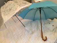 Wedding umbrella set (white and blue)
