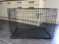 """Large 36"""" Dog Puppy Black Crate Cage And Grey Dog Patterned Bumpers And Covers"""