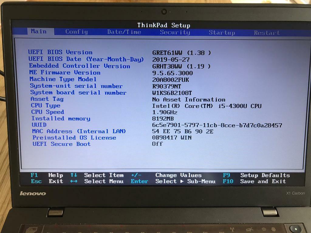 Lenovo X1 Carbon laptop Intel i5 cpu, 8Gb RAM 240Gb SSD laptop notebook |  in Farnborough, Hampshire | Gumtree