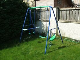 Childs garden swing and seesaw
