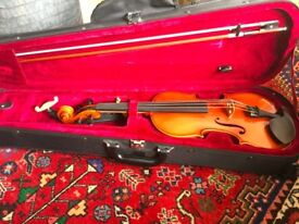 Full-size violin, 7 years old, hand-made and in great condition with case