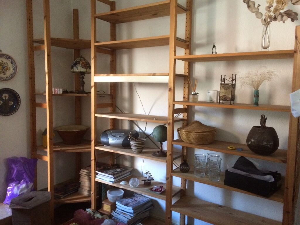 Vintage ikea solid wood ivar shelving unit and light in for Ikea wood shelving units