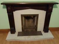 Marble Inset Fireplace with Mahogany Mantle