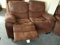 Brown Suede Recliner Sofa