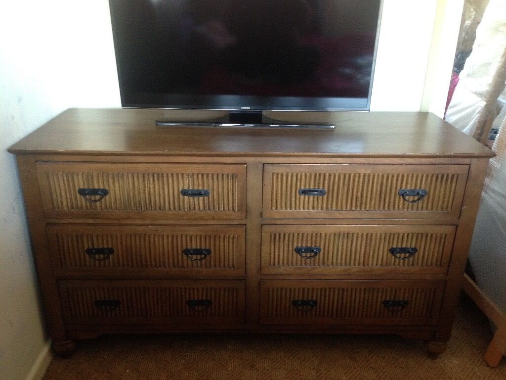 Large Wooden Chest Of Drawers With matching bedside tables