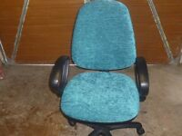 office chair in turquoise blue