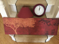 ASSORTED HOUSEHOLD ACCESSORIES, PICTURES, LAMPS, SHADE, CLOCK