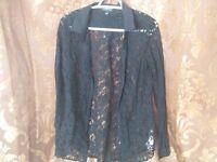 Women's ladies lace black long sleeve shirt medium