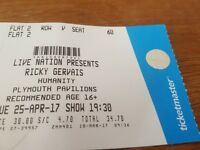 ricky gervais ticket at plymouth pavilions Tues 25th April