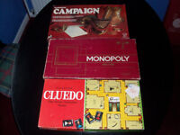 3 Board Games Cluedo Monopoly and Campaign. A bargain at £9 the lot or £3 each