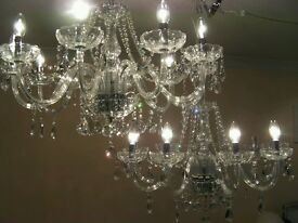 PAIR of ~Gorgeous~ Large elegant 10 Light French style glass & crystal chandeliers