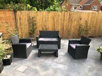 Black rattan garden set