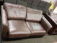 3 & 2 Brown Leather Sofa