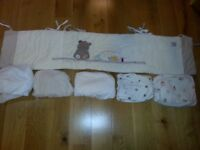 Mothercare Precious Bear Cot Bumper and 5 fitted sheets