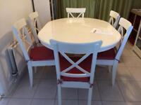 Ikea extendable table and six chairs with chair pads