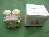 Floral Decorated Pottery Tissue Holder with Condiment Set