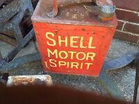 Shell motor spirit fuel can