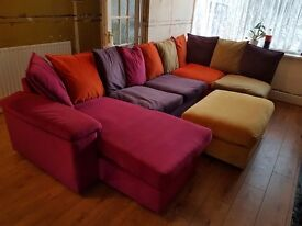 DFS SUEDE COLOURFUL SOFAS INCLUDING FOOTSTOOL RRP£2500