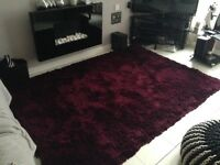 Large shaggy plum/Burgandy rug