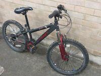 """Boy's bike, 20"""" wheels, """"Guru"""" model, dark grey, six gears"""