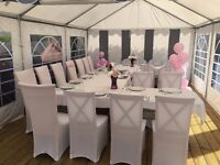 Marquee 4mx6m heavy duty, white and grey with clear windows, very good condition