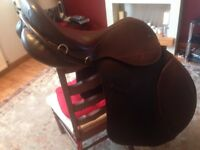 "Stirlingshire saddlery saddle, made by ideal, 18"" xw brown"