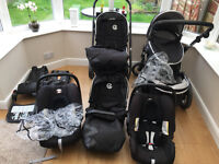 Oyster Max Tandem Double Buggy/Pushchair with 2 x all attachments and car seats and all accessories
