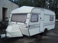 1990 2 BERTH ABBEY GLOBETROTTER CARAVAN NO DAMPNESS GOOD ORDER COMES WITH AWNING
