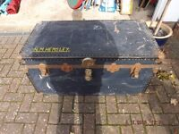 TRAVEL TRUNK BLACK SOLID ABOUT 60/70 YEARS OLD