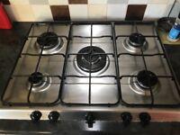 Indesit 5 burner gas hob, stainless steel, enamel pan supports, wok zone