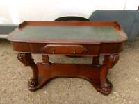 Victorian leather top mahogany desk/consul table