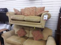Gold Fabric 3 + 2 Suite with Footstool