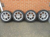 """Genuine Audi A4 18"""" 7 spoke RS4 style Alloys. Complete set of 4 with brand new tyres."""