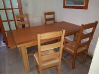 Oak Farmhouse Dining Table And Four Chairs 6ft X 3ft
