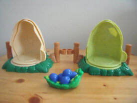 FISHER PRICE:Little People Dinoland dinosaurs accessories-2 hatching eggs, berries/leaf.£3 ovno lot.