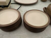 Denby Pampas Dinner Set Serving Dishes Casseroles brown and cream stoneware