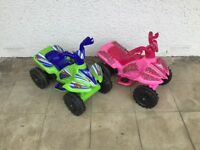 Two electric battery powered quad bikes for kids (sold separately or together)
