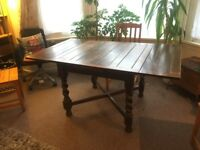 Dining Table & 4x Chairs - Solid Wood - Extendable to Full Size