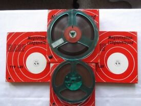 4 BASF Type LGS 1/4 inch reel-to-reel tapes on plastic spools